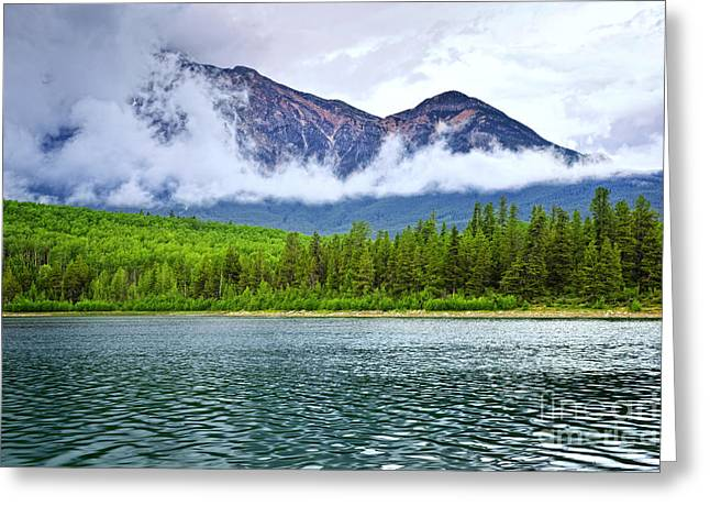 Jasper Greeting Cards - Mountain lake in Jasper National Park Greeting Card by Elena Elisseeva