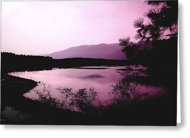 Mountains And Lake Greeting Cards - Mountain Twilight Greeting Card by Ann Powell