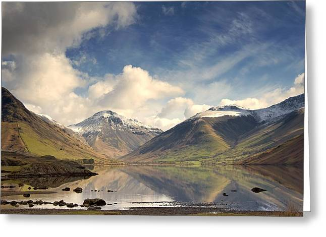 Mountains And Lake At Lake District Greeting Card by John Short