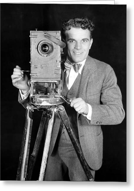 Bowtie Photographs Greeting Cards - MOVIE CAMERA, 1920s Greeting Card by Granger