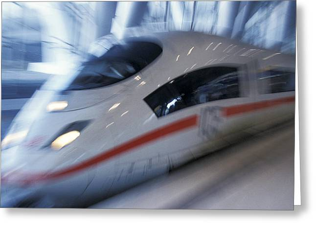 Express Greeting Cards - Moving Express Train Greeting Card by Chris Martin-bahr