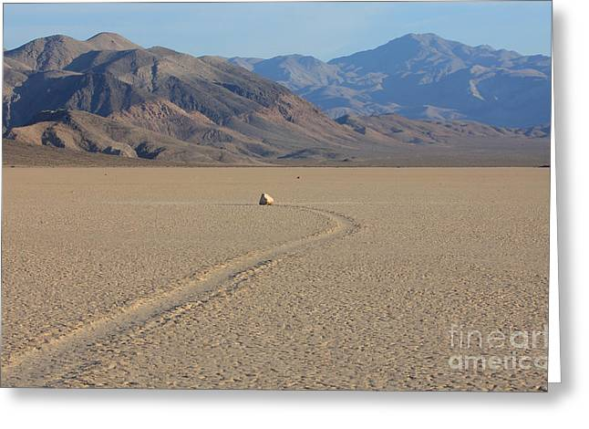 Slide Rock Greeting Cards - Moving Rocks On Racetrack Playa Greeting Card by Mark Taylor