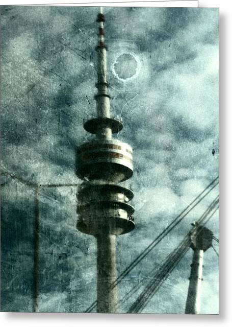 Deutschland Mixed Media Greeting Cards - Munich television tower Greeting Card by Falko Follert