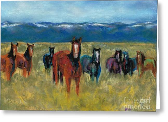 Western Western Art Pastels Greeting Cards - Mustangs in Southern Colorado Greeting Card by Frances Marino