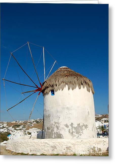 Fineartamerica Greeting Cards - Mykonos Greece Windmill Greeting Card by Eva Kaufman