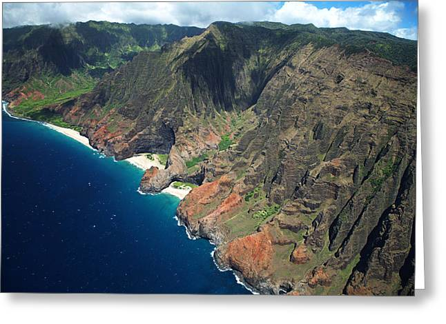 Peter French Greeting Cards - Na Pali Coast Aerial Greeting Card by Peter French - Printscapes