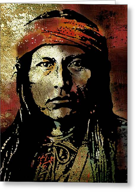 American Indian Portrait Greeting Cards - Naichez Greeting Card by Paul Sachtleben