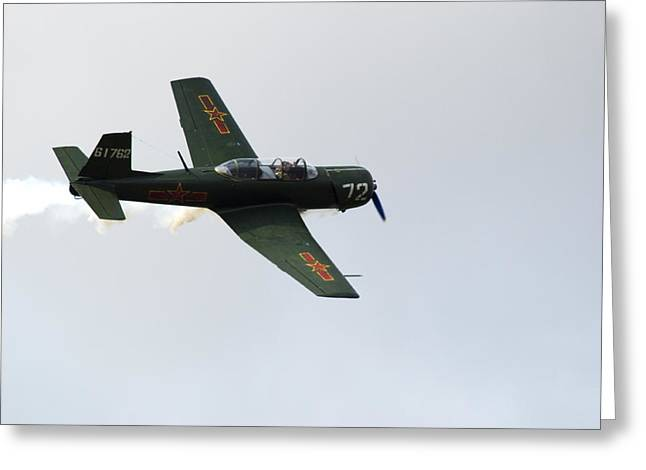 Cj6 Greeting Cards - Nanchang CJ6 fighter in flight Greeting Card by Chris Day