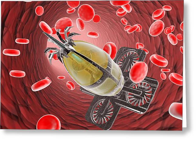 Single-celled Greeting Cards - Nanorobot In The Bloodstream Greeting Card by Christian Darkin