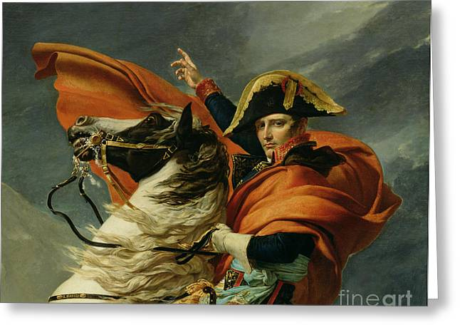 St Bernard Greeting Cards - Napoleon Crossing the Alps on 20th May 1800 Greeting Card by Jacques Louis David