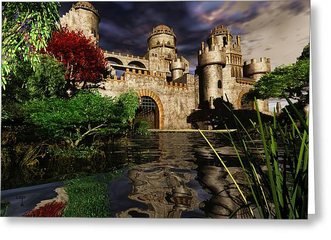 Knighting Mixed Media Greeting Cards - Natalies Castle Greeting Card by Steven Palmer