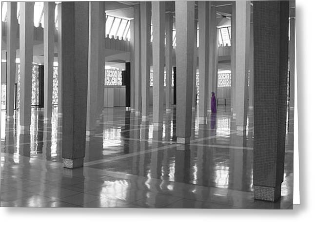 Purple Robe Greeting Cards - National Mosque in Kuala Lumpur Greeting Card by Zoe Ferrie