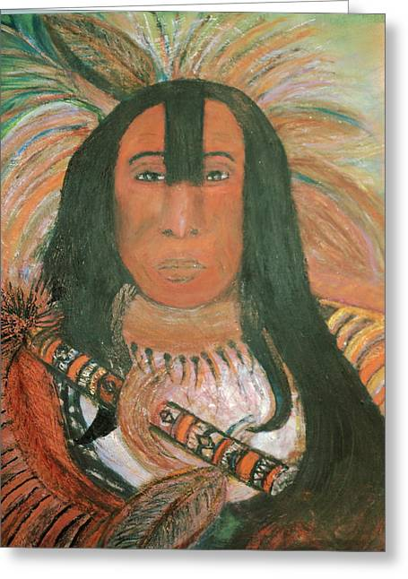 Anne-elizabeth Whiteway Greeting Cards - Native American Chief Greeting Card by Anne-Elizabeth Whiteway