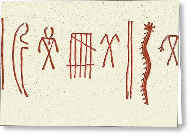 Native American Pictogram Greeting Card by Sheila Terry