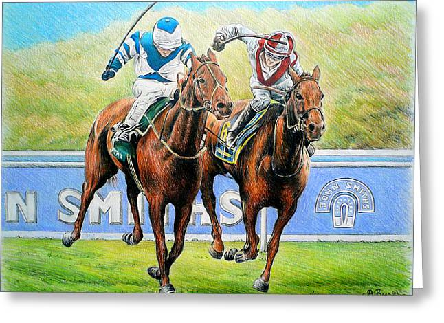 Race Horse Drawings Greeting Cards - Nearing the finish Greeting Card by Andrew Read