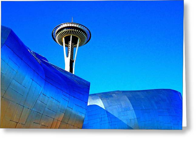 Seattle Landmarks Greeting Cards - Needle Piercing Greeting Card by Randall Weidner