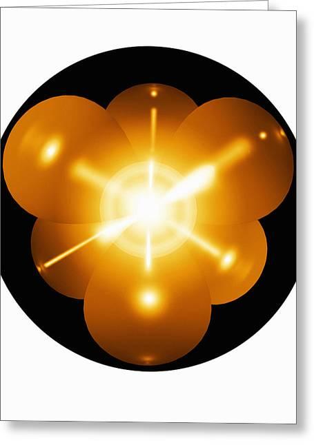 Neon Atom, Artwork Greeting Card by Mehau Kulyk