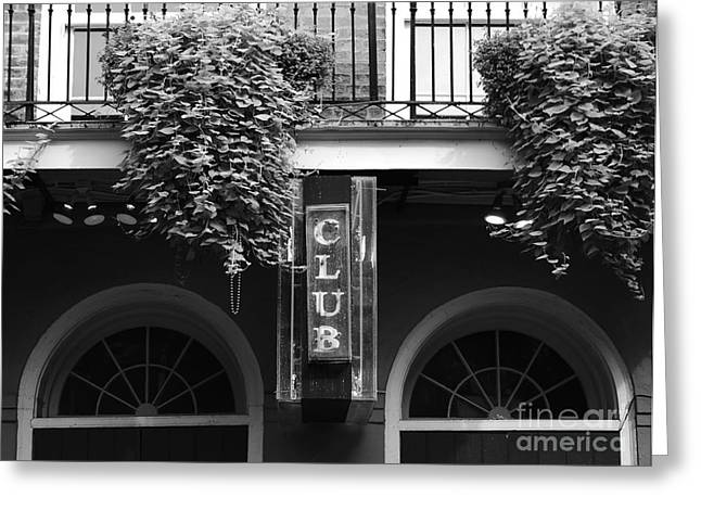 French Quarter Photographs Greeting Cards - Neon Club Sign Bourbon Street Corner French Quarter New Orleans Black and White Greeting Card by Shawn O
