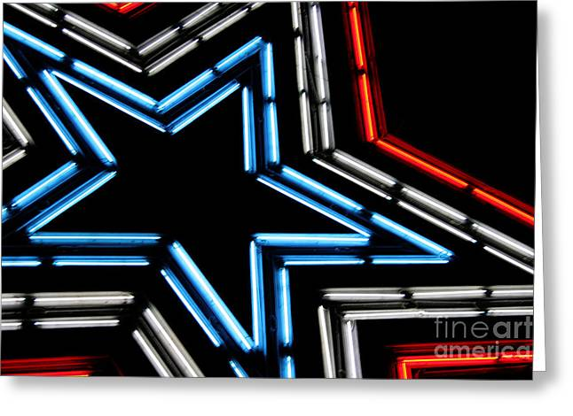 Neon Star Greeting Card by Darren Fisher