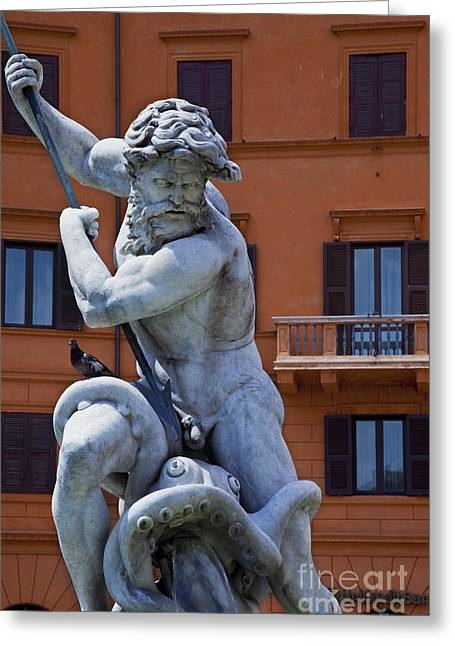 Sea Monster Mythology Greeting Cards - Neptune Fountain Greeting Card by Brian Jannsen
