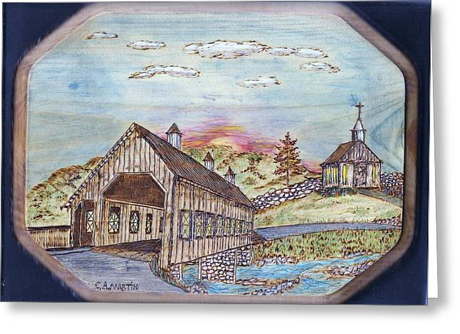 Stream Pyrography Greeting Cards - New England Covered Bridge Greeting Card by Clarence Butch Martin