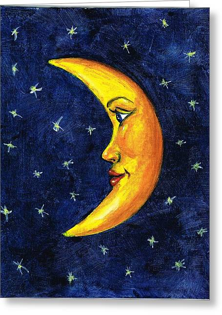 Man In The Moon Paintings Greeting Cards - New Moon Greeting Card by Sarah Farren