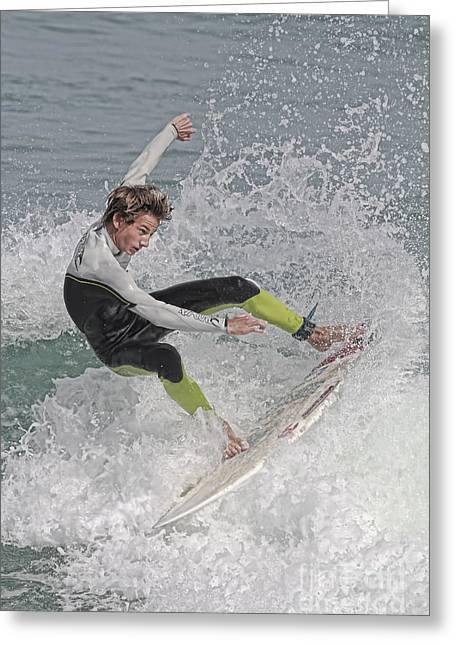 Smyrna Greeting Cards - New Smyrna Surfer Greeting Card by Deborah Benoit