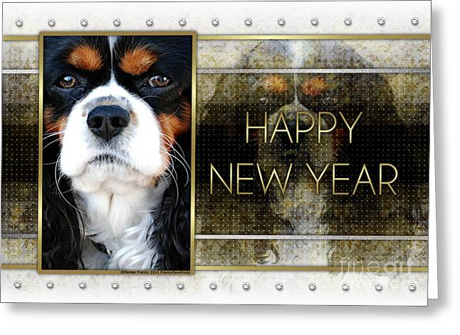 Canine Greeting Cards - New Year - Golden Elegance Cavalier King Charles Spaniel Greeting Card by Renae Laughner