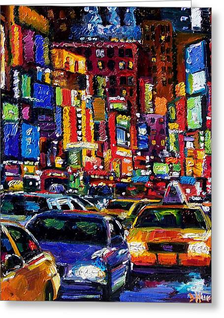 Times Square Paintings Greeting Cards - New York City Greeting Card by Debra Hurd