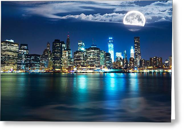 Sea Moon Full Moon Greeting Cards - New York Skyline Greeting Card by Mircea Costina Photography