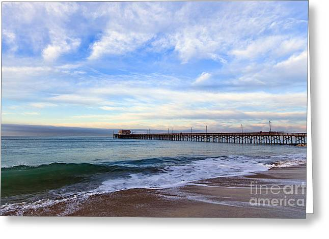 Balboa Greeting Cards - Newport Beach Pier Greeting Card by Paul Velgos