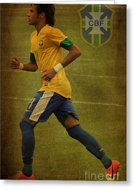 Liga Greeting Cards - Neymar Junior Greeting Card by Lee Dos Santos