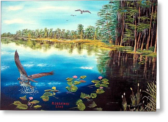 Lilly Pads Mixed Media Greeting Cards - Nice Catch Greeting Card by Riley Geddings