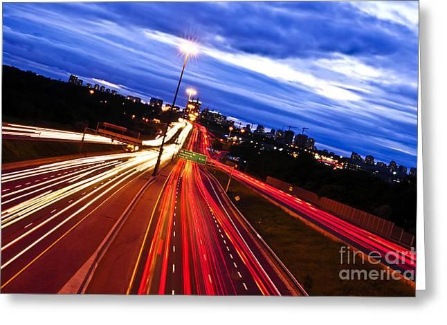 Headlight Greeting Cards - Night traffic Greeting Card by Elena Elisseeva