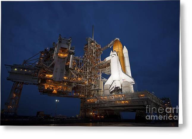 Atlantis Greeting Cards - Night View Of Space Shuttle Atlantis Greeting Card by Stocktrek Images