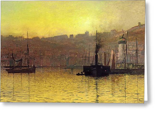 Boats In Water Greeting Cards - Nightfall in Scarborough Harbour Greeting Card by John Atkinson Grimshaw