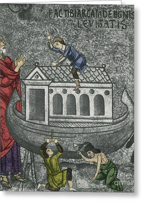 Religious Photographs Greeting Cards - Noah Building The Ark Greeting Card by Photo Researchers