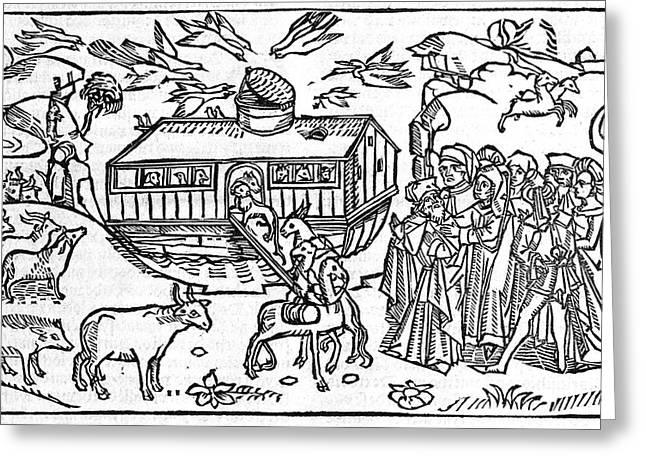 Deluge Greeting Cards - Noahs Ark, 16th-century Bible Greeting Card by King