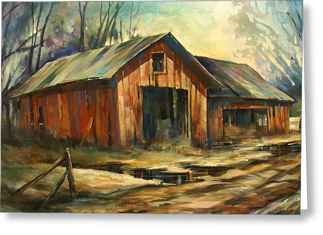 Run Down Paintings Greeting Cards - North Country Greeting Card by Michael Lang