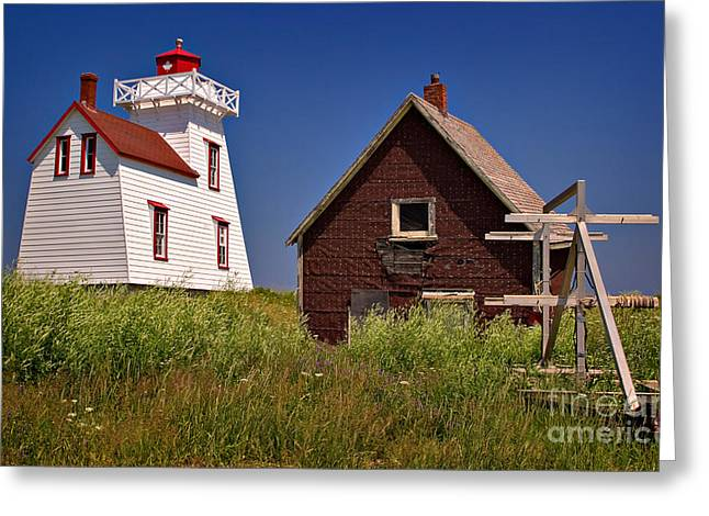 Outbuildings Greeting Cards - North Rustico Lighthouse Greeting Card by Louise Heusinkveld