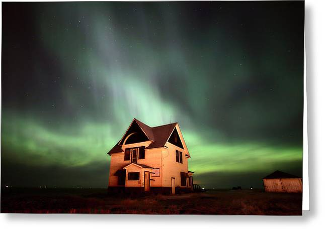 Historic Home Greeting Cards - Northern Lights over Southern Saskatchewan Greeting Card by Mark Duffy