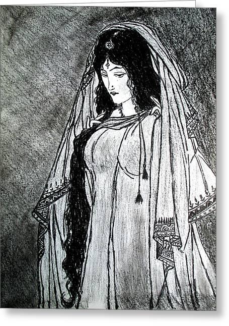Fareeha Khawaja Greeting Cards - Nostalgia - Woman of Chughtai  Greeting Card by Fareeha Khawaja