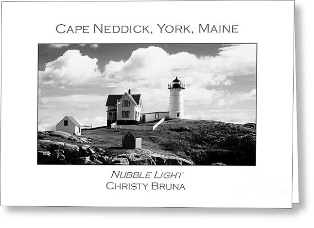 Cape Neddick Greeting Cards - Nubble Light Greeting Card by Christy Bruna
