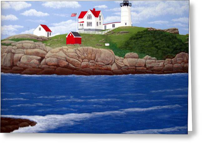 Nubble Lighthouse Paintings Greeting Cards - Nubble Lighthouse Greeting Card by Frederic Kohli