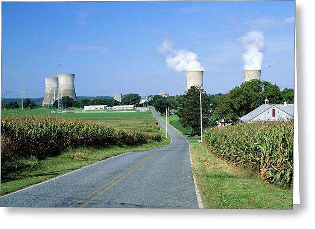 Water Powered Power Plants Greeting Cards - Nuclear Power Station Greeting Card by Martin Bond