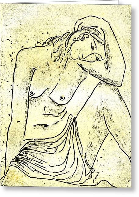 Block Print Drawings Greeting Cards - Nude II A.P. Greeting Card by Karin Zukowski