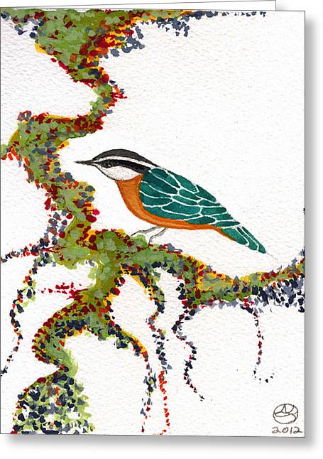 Lady Tapestries - Textiles Greeting Cards - Nuthatch TWO Greeting Card by Alexandra  Sanders