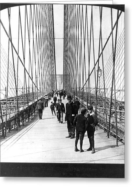 Brooklyn Promenade Greeting Cards - Ny: Brooklyn Bridge, 1901 Greeting Card by Granger