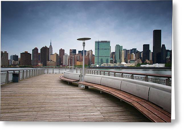 Latern Greeting Cards - NYC Brooklyn Quai Greeting Card by Nina Papiorek