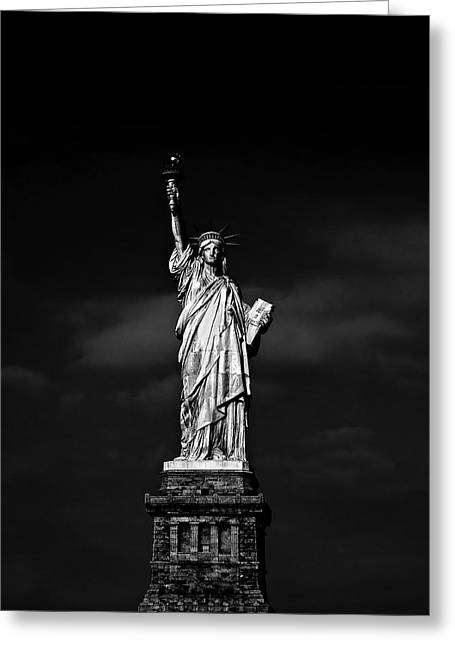 Black Greeting Cards - NYC Miss Liberty Greeting Card by Nina Papiorek